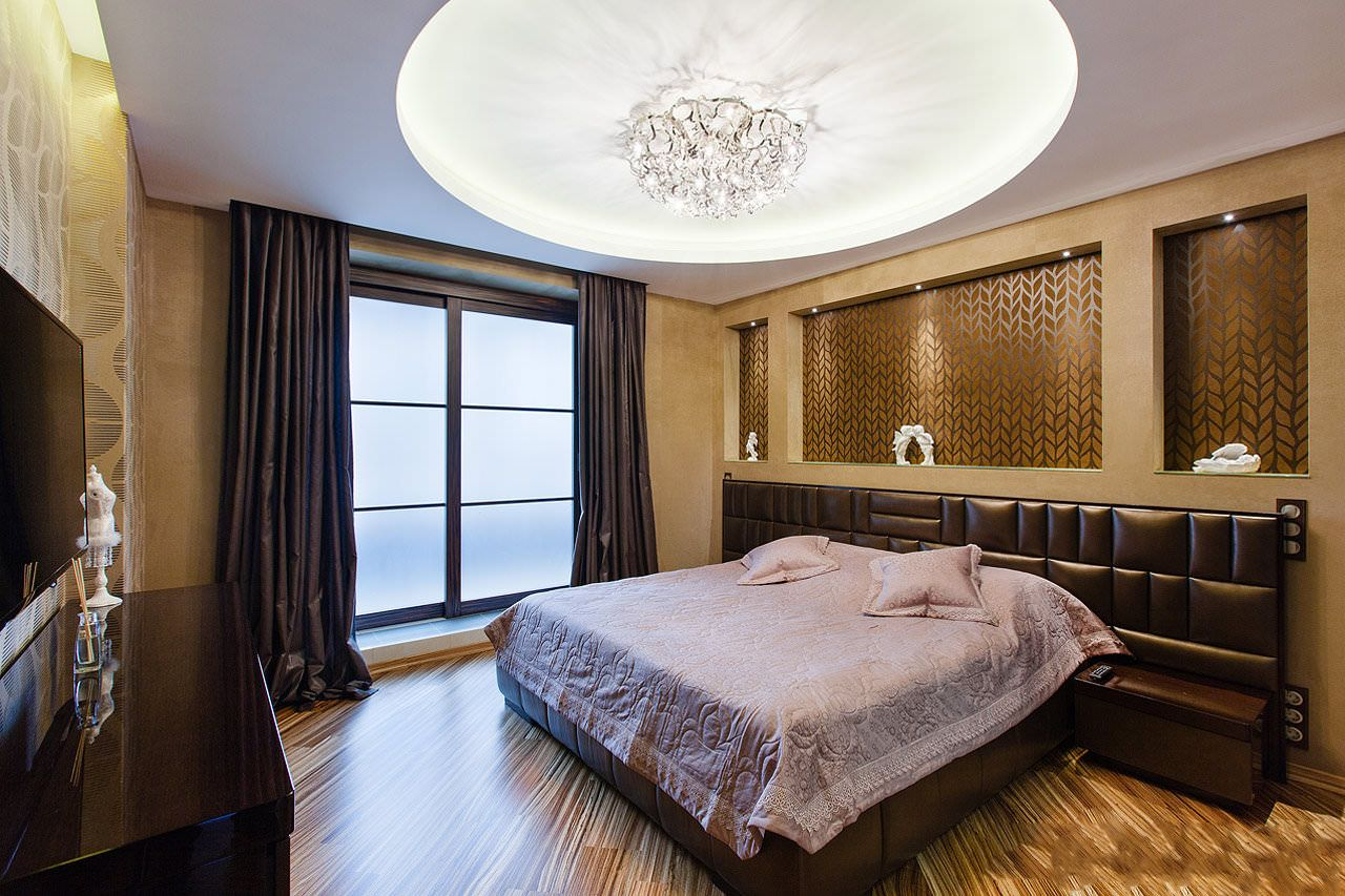 натяжной потолок в спальне с подсветкой фото твой славный день