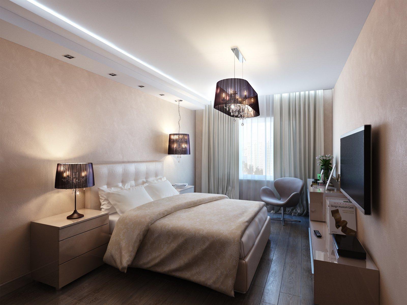 потолки в узких спальнях фото очень